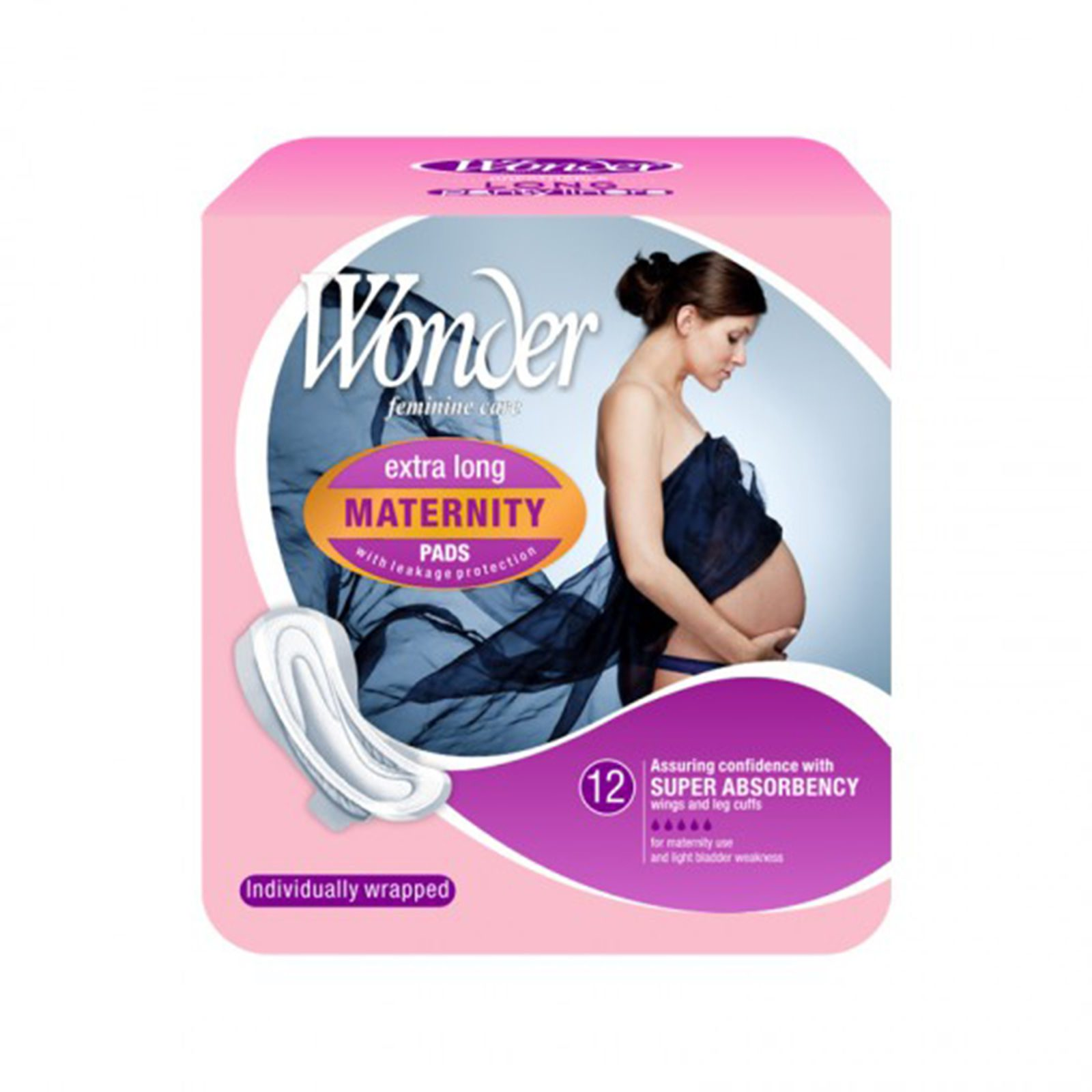 Maternity Pads Extra Long with Wings 12Pk Wonder